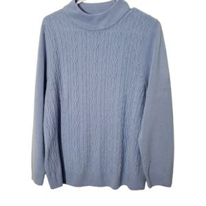 Alia cable knit blue long sleeve sweater size Larg